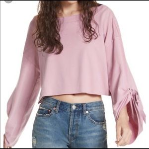 Free People rose cropped flare sleeve sweater